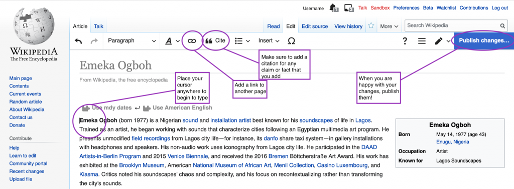 A screenshot of the Wikipedia visual editor, with important features circled and described as follows:  Cursor: Place your cursor anywhere to begin to type  Chain link: Add a link to another page  Cite: Make sure to add a citation for any claim or fact that you add  Publish changes: When you are happy with your changes, publish them!