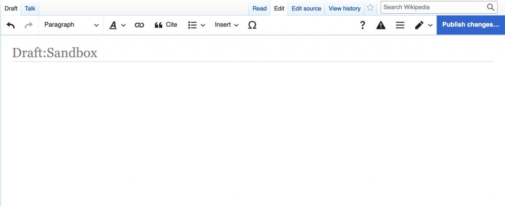 A screenshot of a blank Wikipedia sandbox