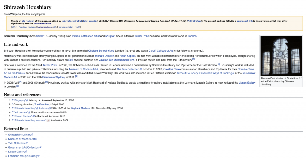 A screenshot of the Wikipedia page of Shirazeh Houshiary. It contains subheadings 'Life and work', 'Notes and references' and 'External links'.