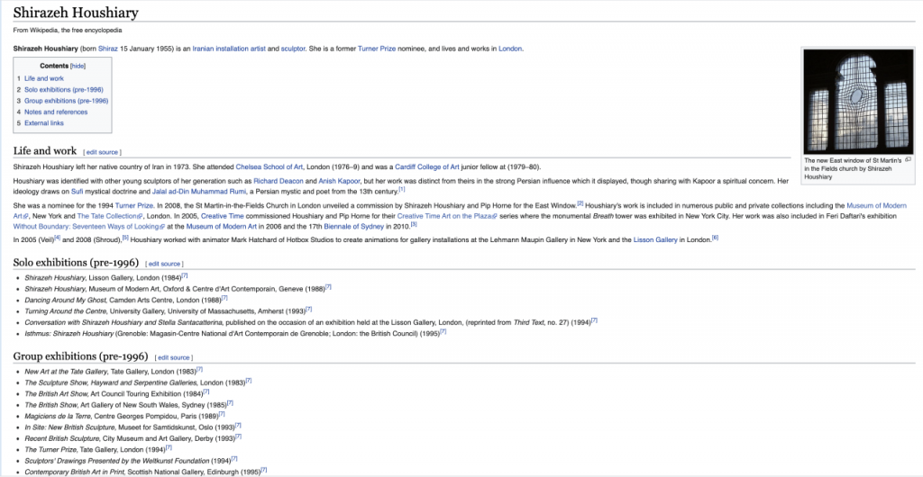 Another screenshot of Houshiary's Wikipedia page. This updated version shows two additional subheadings after 'Life and work', which are 'Solo exhibitions (pre-1996)' and 'Group exhibitions (pre-1996)'.