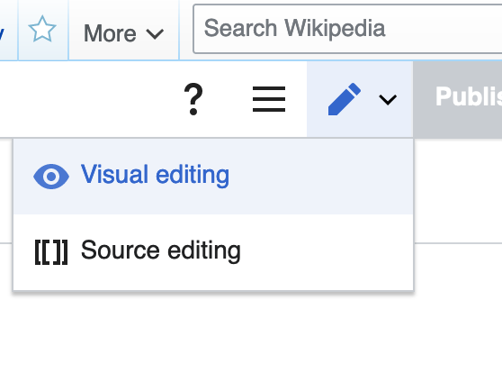 Screenshot showing a dropdown menu from the pencil icon on a Wikipedia editor page. The two options are 'Visual editing' and 'Source editing'
